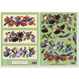 "3D udstanset metalplade gravering, Dufex Gallery, ""fugle"""