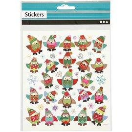 Sticker Autocollants, 1 feuille: 15x16, 5 cm, hiboux.