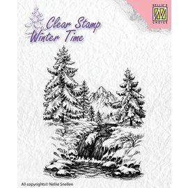 Nellie Snellen sellos transparentes, paisaje con cascada