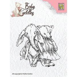 Nellie Snellen Transparent Stempel, Baby Cuddles Baby, friends