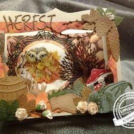 Marianne Design Troquelado y estampado de plantilla: pañito y hojas