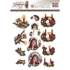 A4 Gestantzte Bilderbogen, wreath with candles