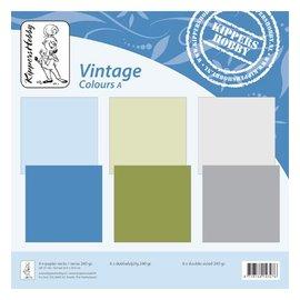 Designer Papier Scrapbooking: 30,5 x 30,5 cm Papier Vintage colors A, 6 sheets, double-sided, college, 240 grs