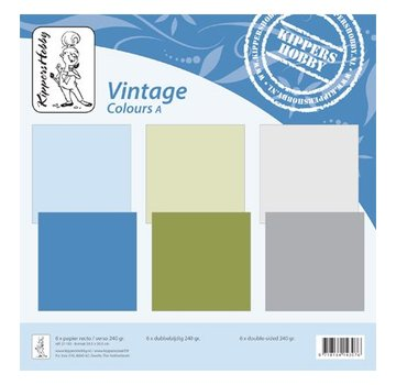 Designer Papier Scrapbooking: 30,5 x 30,5 cm Papier Vintage kleuren A, 6 vellen, double-sided, universiteit, 240 gr