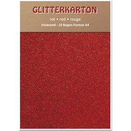 Karten und Scrapbooking Papier, Papier blöcke Glitter karton, 10 ark, rød