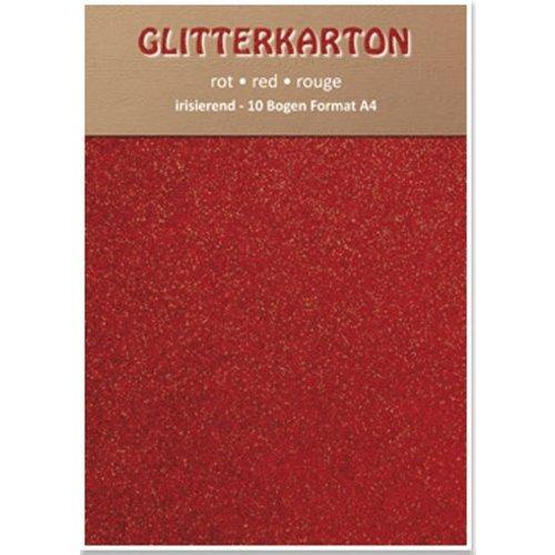 Karten und Scrapbooking Papier, Papier blöcke Glitter carton, 10 feuilles, rouge