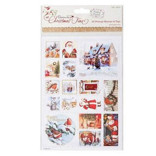 Docrafts / Papermania / Urban A5 postage stamp stickers, Christmas motifs