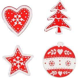 Embellishments / Verzierungen Hout gelakt Kerstthema