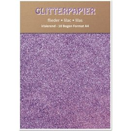 Karten und Scrapbooking Papier, Papier blöcke Glitter cardboard, iridescent, 10 sheets, Lilac