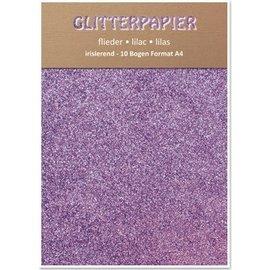 Karten und Scrapbooking Papier, Papier blöcke Glitter karton, iriserend, 10 vellen, Lilac