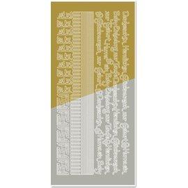STICKER / AUTOCOLLANT Kombi-Sticker, Ränder, Ecken, Texte: Baby, Geburt, Taufe, gold-gold