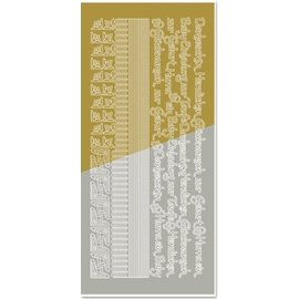 Sticker Kombineret sticker, kanter, hjørner, tekster: Baby, fødsel, dåb, guld-guld