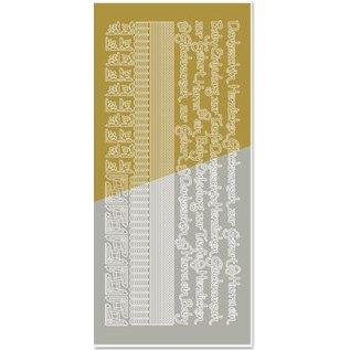 STICKER / AUTOCOLLANT Gecombineerd sticker, randen, hoeken, teksten: baby, geboorte, doop, goud-goud