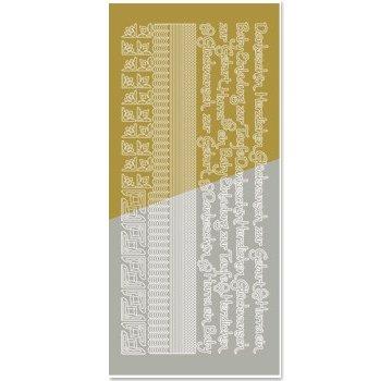 Sticker Gecombineerd sticker, randen, hoeken, teksten: baby, geboorte, doop, goud-goud