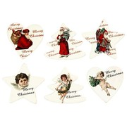 Embellishments / Verzierungen Wood etiquette, 6 different Christmas themes