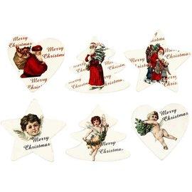 Embellishments / Verzierungen l'étiquette de bois, 6 thèmes de Noël différents