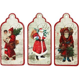 Embellishments / Verzierungen 3 Gift Tags, nostalgisch Santas