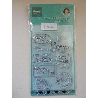 Stempel / Stamp: Transparent Transparante stempel, tekst: Wishes in het Engels