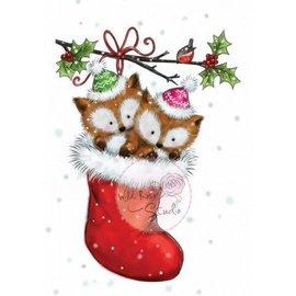 Wild Rose Studio`s A7 Transparent stamp, 2 cute fox in a stocking
