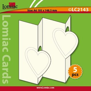 KARTEN und Zubehör / Cards Set van 5 kaarten, hartmotieven