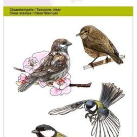 Crealies und CraftEmotions Transparante stempels: Vogels