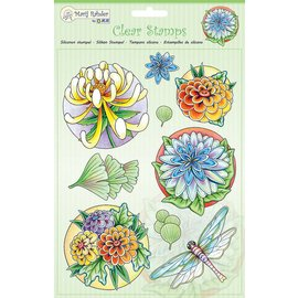 Stempel / Stamp: Transparent tampons transparents: fleurs et libellule