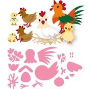 Marianne Design modello di punzonatura: famiglia di pollo di Eline