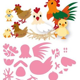 Marianne Design plantilla de perforación: Familia del pollo de Eline