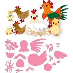 Marianne Design modèle de poinçonnage: famille de poulet de Eline