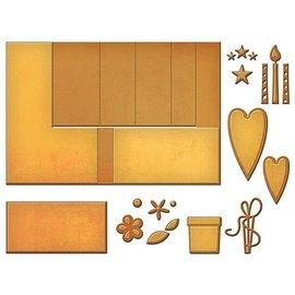 Spellbinders und Rayher Ponsen sjabloon voor het ontwerp van de pop-up kaarten