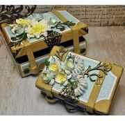 Holz, MDF, Pappe, Objekten zum Dekorieren 2 nostalgic mini suitcases, made of strong cardboard.