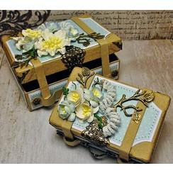 2 nostalgiske mini-kufferter, lavet af stærk pap