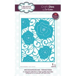 CREATIVE EXPRESSIONS und COUTURE CREATIONS Ponsen sjabloon: Mini Achtergrond - Pierced Roses