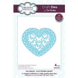 CREATIVE EXPRESSIONS und COUTURE CREATIONS snij en embossing sjabloon: Fladderende Hart