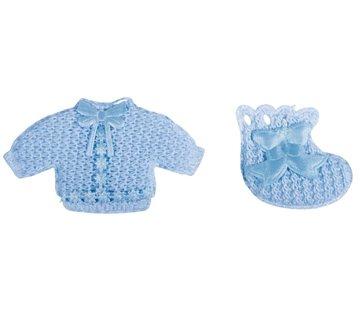 Embellishments / Verzierungen Babyaccessoires Hemdchen + Söckchen babyblau