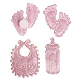 Embellishments / Verzierungen Satin Streuteile empreinte & Bottle & Latz dans le bébé rose