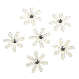 Embellishments / Verzierungen 60 satin blomster med rhinsten, 1,8 cm ø elfenben