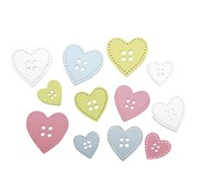 Embellishments / Verzierungen 24 bottoni di legno: cuore in 3 dimensioni