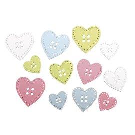 Embellishments / Verzierungen 24 tre knapper: hjerte i 3 størrelser