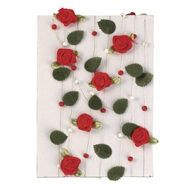 Embellishments / Verzierungen Rosengirlande mit Blättern + Perlen rot
