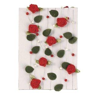 Embellishments / Verzierungen rød rose garland med blader + perler