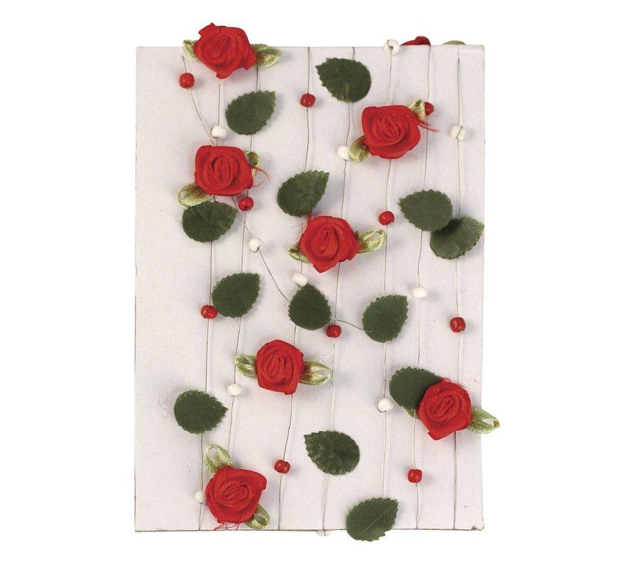 rode roos krans met bladeren + kralen