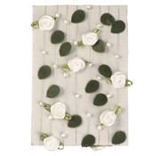 Embellishments / Verzierungen Rose krans med blade + hvid perle
