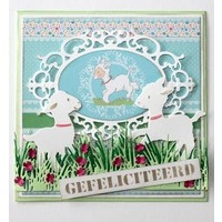 Punching template: Border grass with flowers