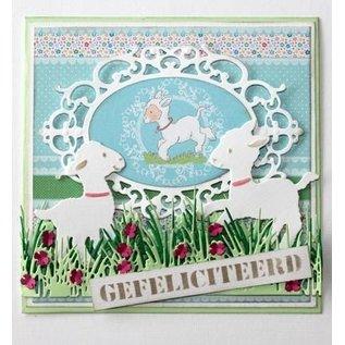 Joy!Crafts / Jeanine´s Art, Hobby Solutions Dies /  Ponsen sjabloon: Grens gras met bloemen