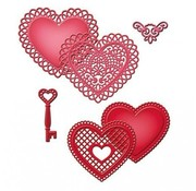 Spellbinders und Rayher Punch and pre - template SET, lace heart + vintage key