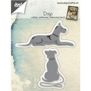 Joy!Crafts / Jeanine´s Art, Hobby Solutions Dies /  Ponsen sjabloon: honden liegen en zitten