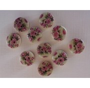 Embellishments / Verzierungen 10 wood buttons with rose motif