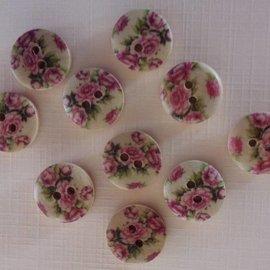 Embellishments / Verzierungen 10 botones de madera con motivo de rosa