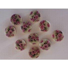 Embellishments / Verzierungen 10 houten knopen met roze motief